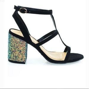 Glitter Chunky Block Heel Sandal T-Strap Sandal